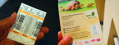 動物園のチケット(左)と園内マップ(右)