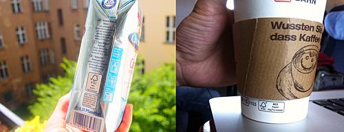 スーパーで買った水のテトラパック、スターバックスコーヒーカップ